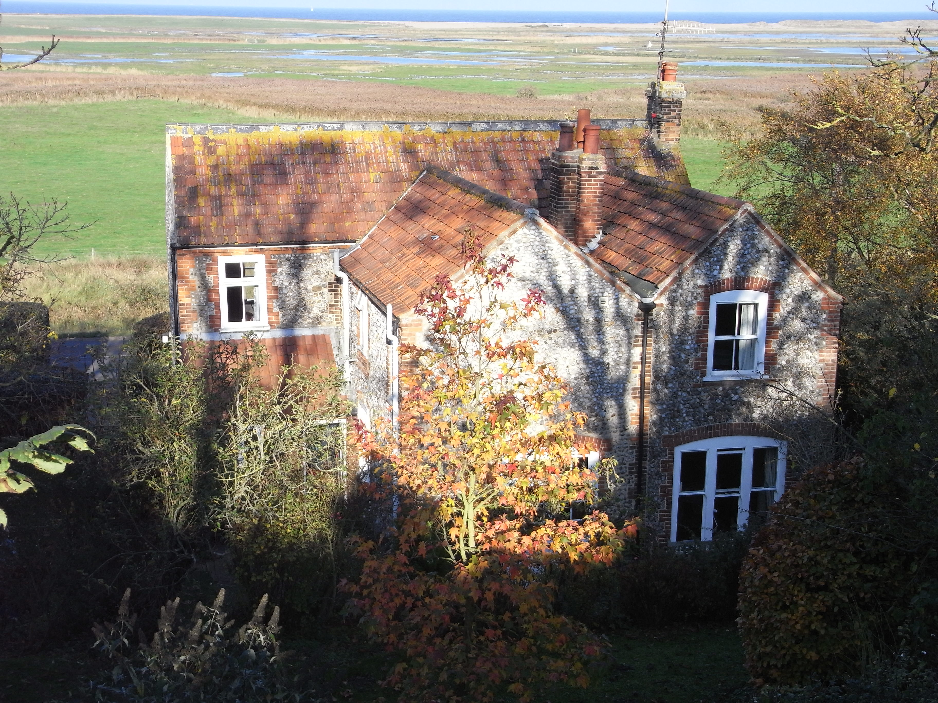 House overlooking marshes at Cley, North Norfolk